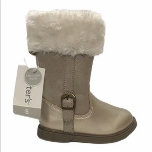 NEW Carter's Tampico Gold Faux Fur Tall Booties 5